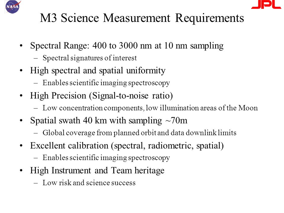 M3 Science Measurement Requirements Spectral Range: 400 to 3000 nm at 10 nm sampling –Spectral signatures of interest High spectral and spatial uniformity –Enables scientific imaging spectroscopy High Precision (Signal-to-noise ratio) –Low concentration components, low illumination areas of the Moon Spatial swath 40 km with sampling ~70m –Global coverage from planned orbit and data downlink limits Excellent calibration (spectral, radiometric, spatial) –Enables scientific imaging spectroscopy High Instrument and Team heritage –Low risk and science success