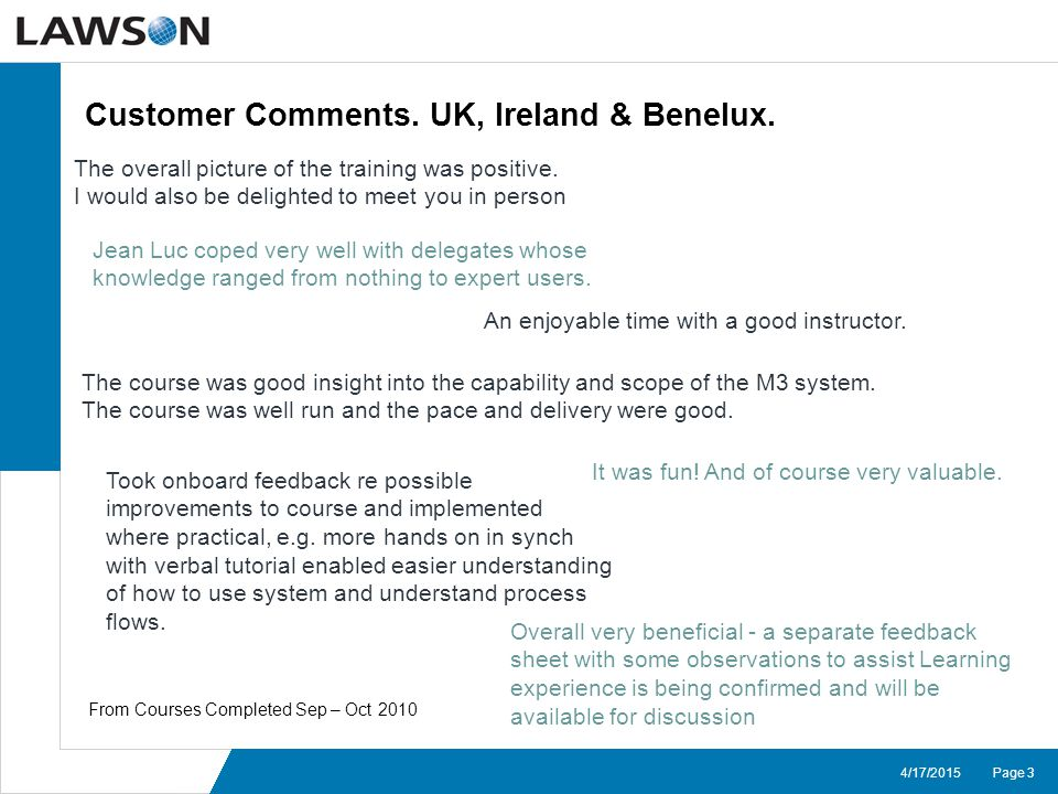 Page 34/17/2015 Customer Comments.UK, Ireland & Benelux.