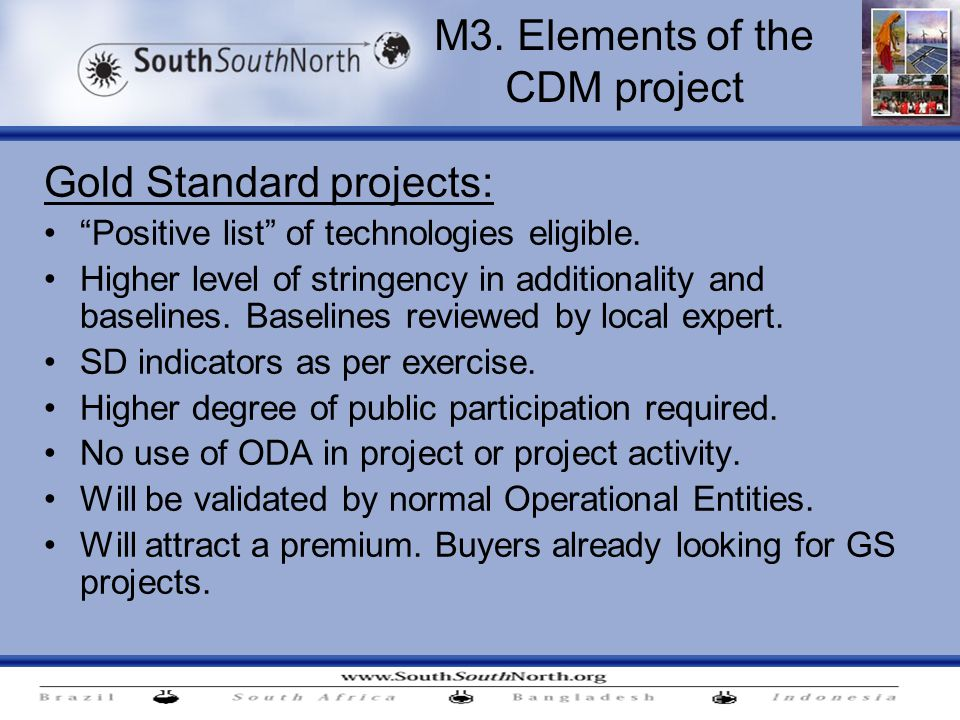 Gold Standard projects: Positive list of technologies eligible.