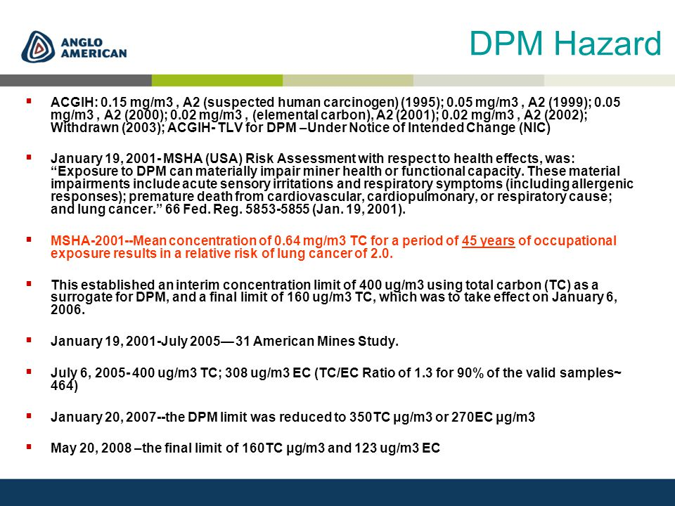 DPM Hazard  ACGIH: 0.15 mg/m3, A2 (suspected human carcinogen) (1995); 0.05 mg/m3, A2 (1999); 0.05 mg/m3, A2 (2000); 0.02 mg/m3, (elemental carbon), A2 (2001); 0.02 mg/m3, A2 (2002); Withdrawn (2003); ACGIH- TLV for DPM –Under Notice of Intended Change (NIC)  January 19, 2001- MSHA (USA) Risk Assessment with respect to health effects, was: Exposure to DPM can materially impair miner health or functional capacity.
