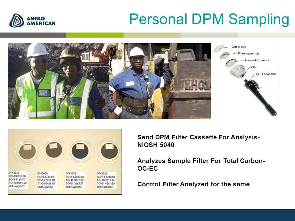 Personal DPM Sampling Send DPM Filter Cassette For Analysis- NIOSH 5040 Analyzes Sample Filter For Total Carbon- OC-EC Control Filter Analyzed for the