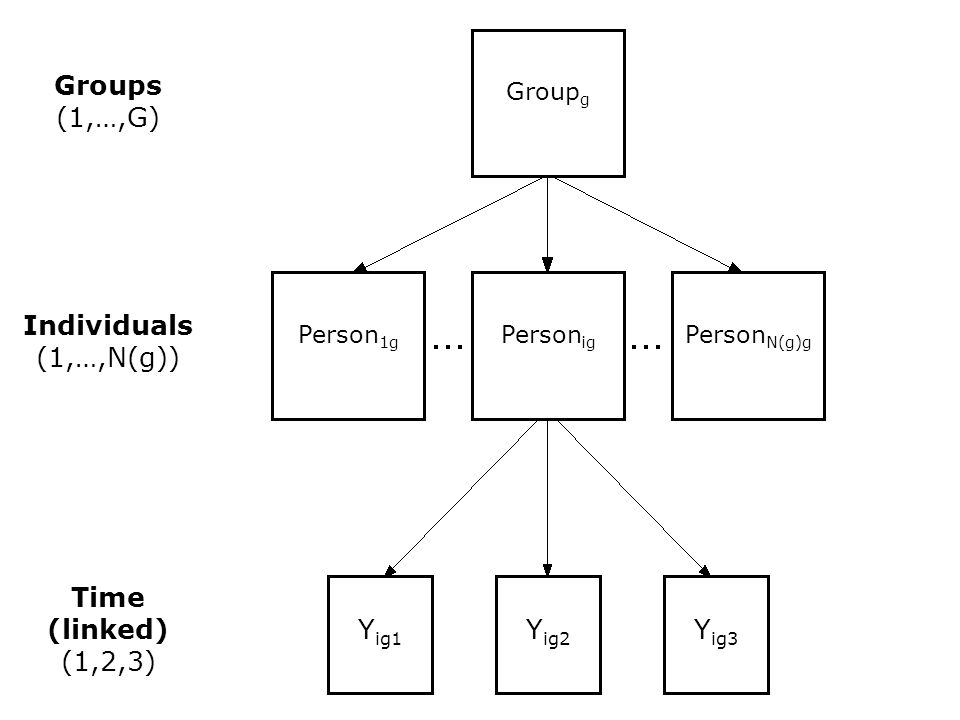 Y ig1 Y ig2 Y ig3 Individuals (1,…,N(g)) Person N(g)g Person ig Person 1g Time (linked) (1,2,3) Groups (1,…,G) Group g