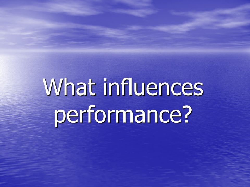 What influences performance?