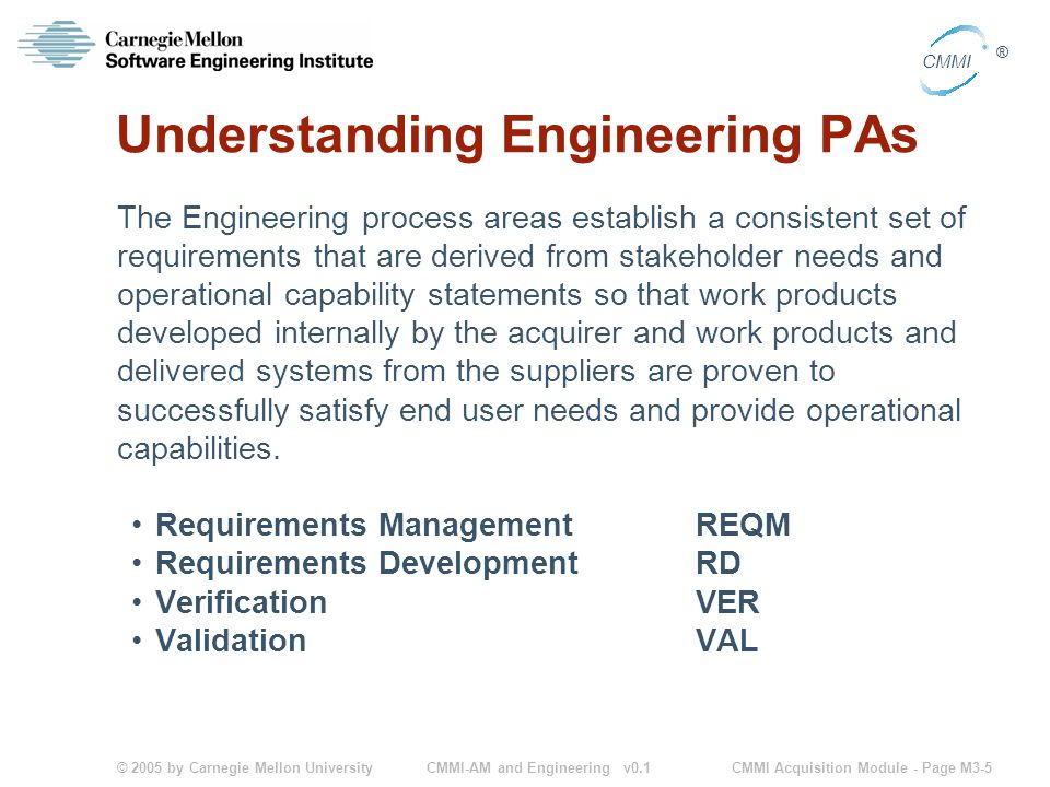 © 2005 by Carnegie Mellon University CMMI Acquisition Module - Page M3-5 CMMI ® CMMI-AM and Engineering v0.1 Understanding Engineering PAs The Engineering process areas establish a consistent set of requirements that are derived from stakeholder needs and operational capability statements so that work products developed internally by the acquirer and work products and delivered systems from the suppliers are proven to successfully satisfy end user needs and provide operational capabilities.