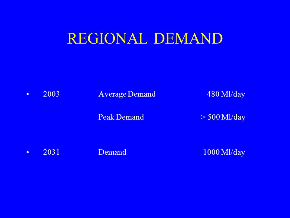 REGIONAL DEMAND 2003Average Demand480 Ml/day Peak Demand > 500 Ml/day 2031Demand 1000 Ml/day
