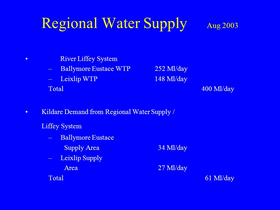 Regional Water Supply Aug 2003 River Liffey System –Ballymore Eustace WTP 252 Ml/day –Leixlip WTP 148 Ml/day Total 400 Ml/day Kildare Demand from Regional Water Supply / Liffey System –Ballymore Eustace Supply Area 34 Ml/day –Leixlip Supply Area 27 Ml/day Total 61 Ml/day