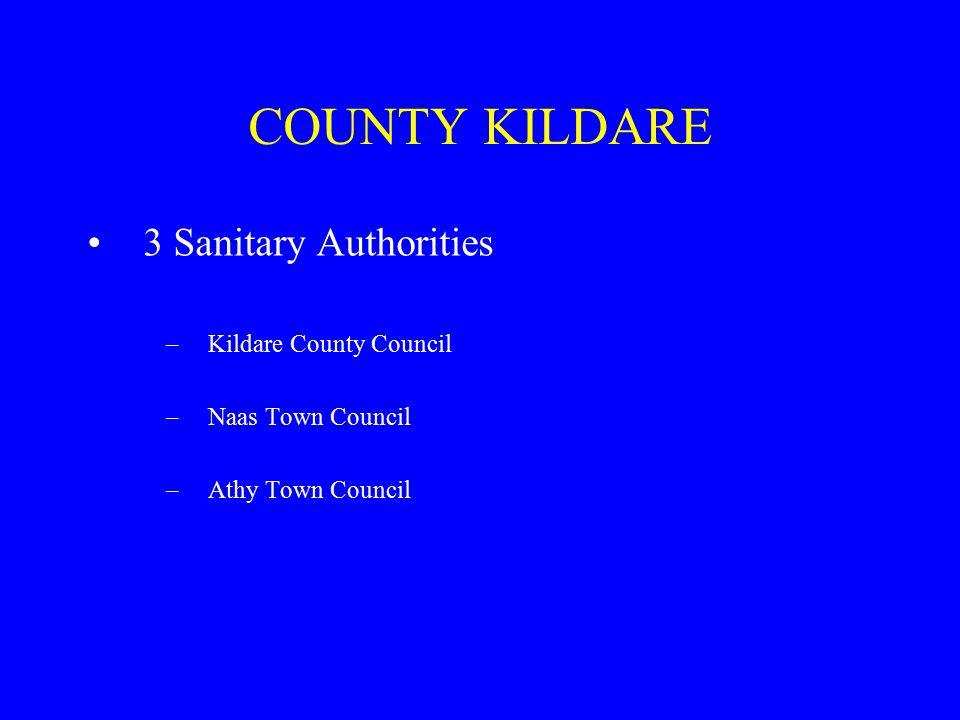COUNTY KILDARE 3 Sanitary Authorities –Kildare County Council –Naas Town Council –Athy Town Council