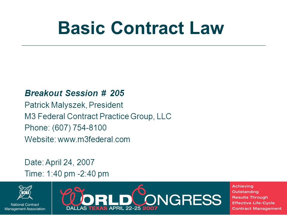 2 Breakout Session # 205 Patrick Malyszek, President M3 Federal Contract Practice Group, LLC Phone: (607) 754-8100 Website: www.m3federal.com Date: Ap