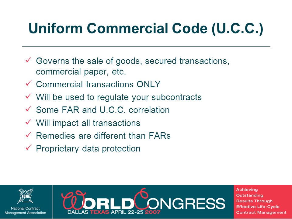 4 Uniform Commercial Code (U.C.C.) Governs the sale of goods, secured transactions, commercial paper, etc. Commercial transactions ONLY Will be used t