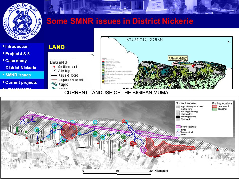 7 Introduction Project 4 & 5 Case study: District Nickerie SMNR issues Current projects Final remarks Some SMNR issues in District Nickerie LAND Sourc