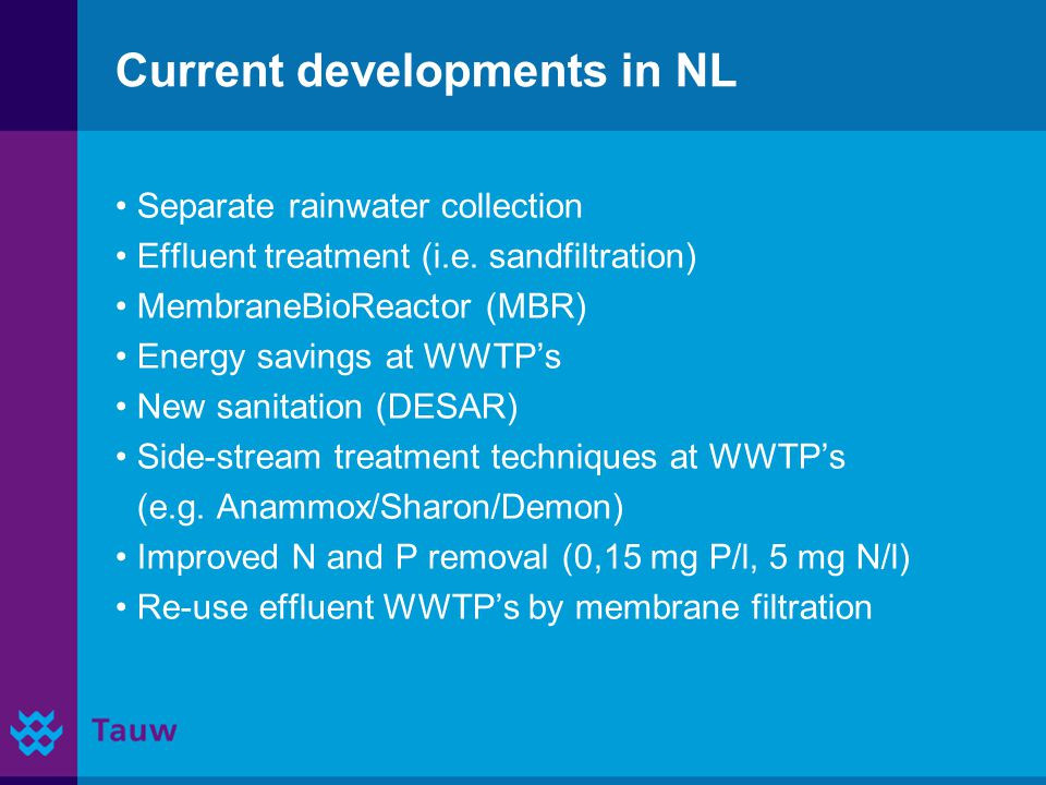 Current developments in NL Separate rainwater collection Effluent treatment (i.e.