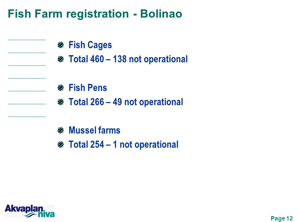 Page 12 Fish Farm registration - Bolinao Fish Cages Total 460 – 138 not operational Fish Pens Total 266 – 49 not operational Mussel farms Total 254 – 1 not operational