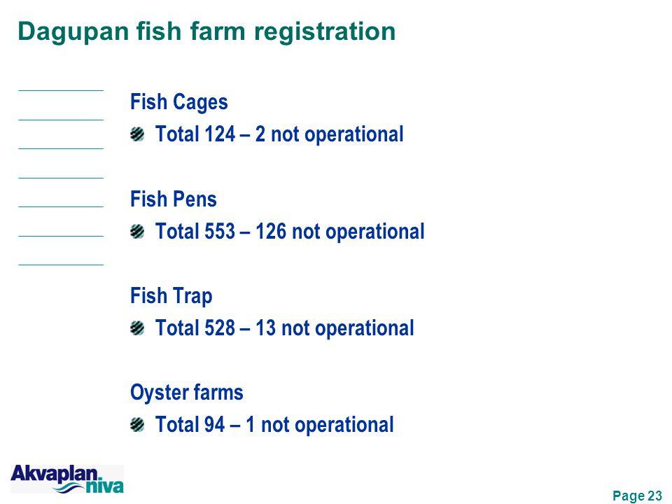 Page 23 Dagupan fish farm registration Fish Cages Total 124 – 2 not operational Fish Pens Total 553 – 126 not operational Fish Trap Total 528 – 13 not operational Oyster farms Total 94 – 1 not operational