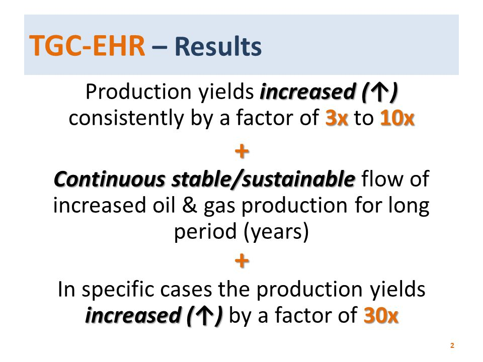 TGC-EHR – Results increased (↑) 3x10x Production yields increased (↑) consistently by a factor of 3x to 10x+ Continuous stable/sustainable Continuous