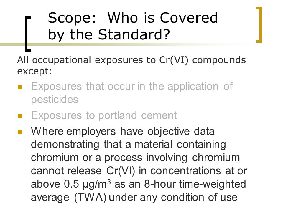 Scope: Who is Covered by the Standard.