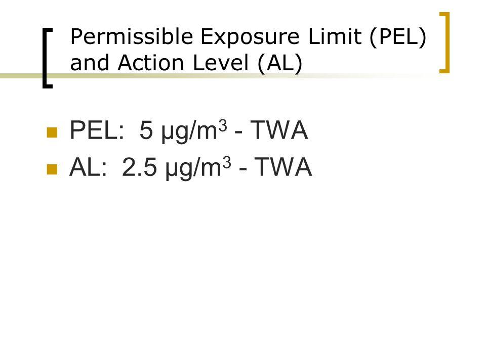 Permissible Exposure Limit (PEL) and Action Level (AL) PEL: 5 µg/m 3 - TWA AL: 2.5 µg/m 3 - TWA