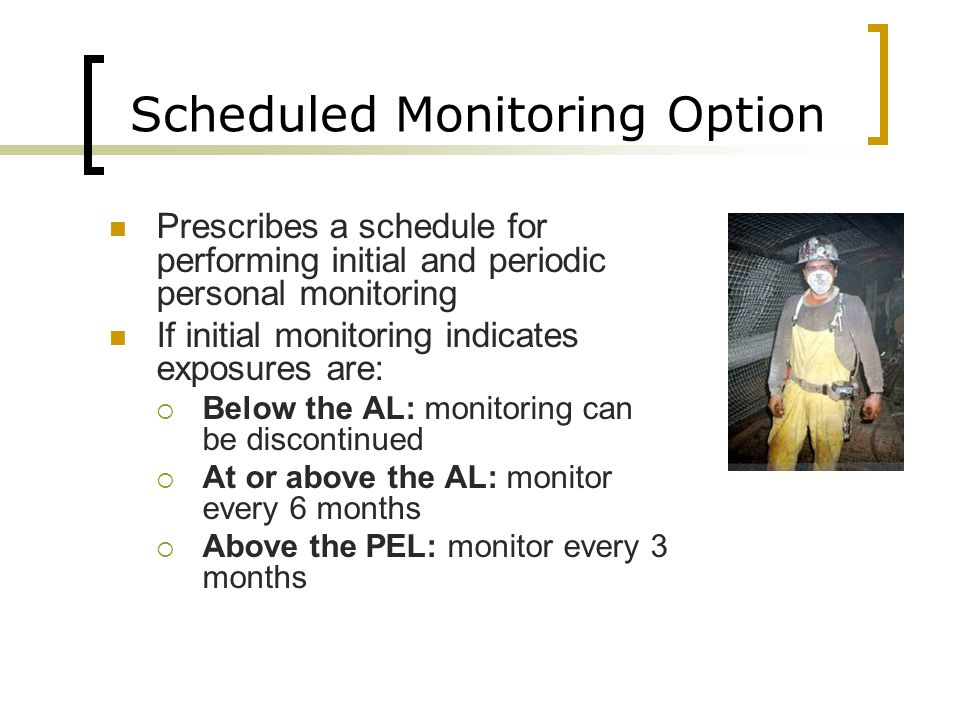 Scheduled Monitoring Option Prescribes a schedule for performing initial and periodic personal monitoring If initial monitoring indicates exposures ar