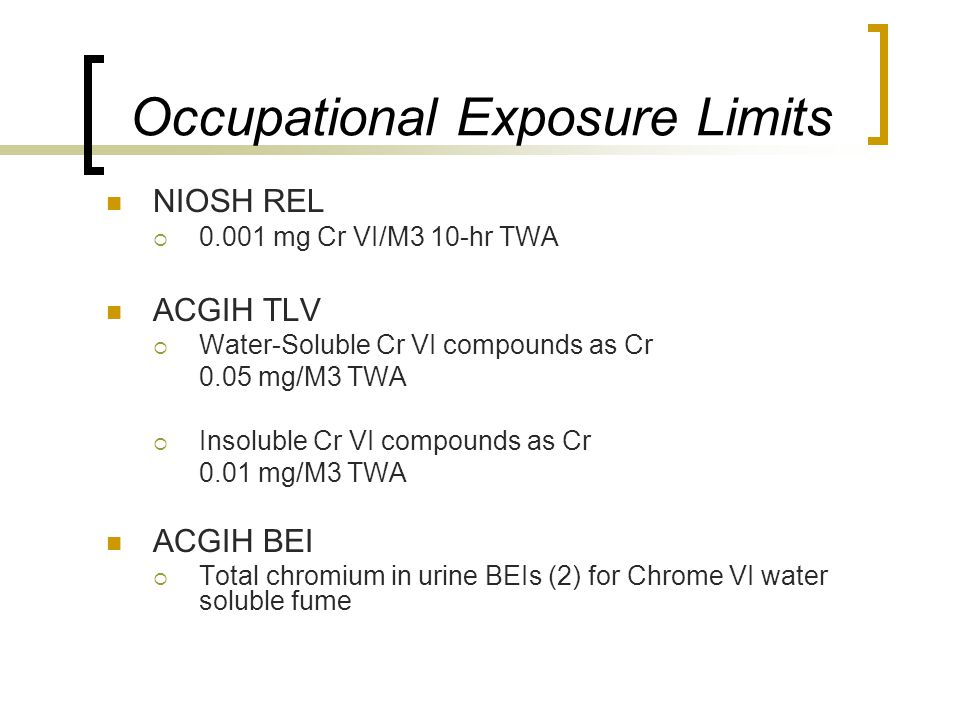 Occupational Exposure Limits NIOSH REL  0.001 mg Cr VI/M3 10-hr TWA ACGIH TLV  Water-Soluble Cr VI compounds as Cr 0.05 mg/M3 TWA  Insoluble Cr VI compounds as Cr 0.01 mg/M3 TWA ACGIH BEI  Total chromium in urine BEIs (2) for Chrome VI water soluble fume