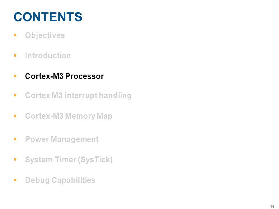 14 CONTENTS  Objectives  Introduction  Cortex-M3 Processor  Cortex M3 interrupt handling  Cortex-M3 Memory Map  Power Management  System Timer