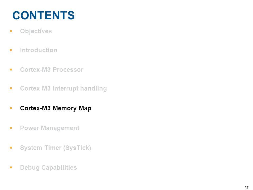 37 CONTENTS  Objectives  Introduction  Cortex-M3 Processor  Cortex M3 interrupt handling  Cortex-M3 Memory Map  Power Management  System Timer