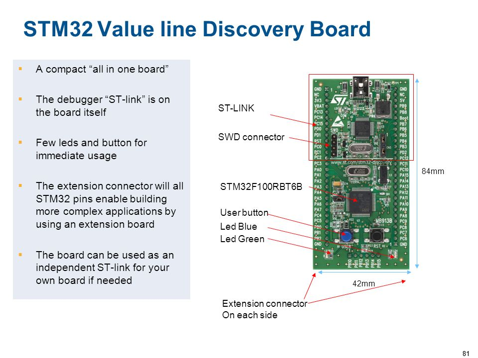 """81 STM32 Value line Discovery Board  A compact """"all in one board""""  The debugger """"ST-link"""" is on the board itself  Few leds and button for immediate"""
