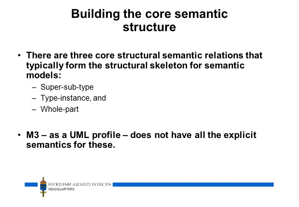 HEADQUARTERS Building the core semantic structure There are three core structural semantic relations that typically form the structural skeleton for semantic models: –Super-sub-type –Type-instance, and –Whole-part M3 – as a UML profile – does not have all the explicit semantics for these.