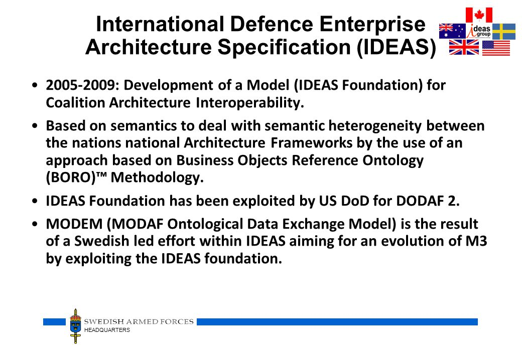 HEADQUARTERS International Defence Enterprise Architecture Specification (IDEAS) 2005-2009: Development of a Model (IDEAS Foundation) for Coalition Architecture Interoperability.