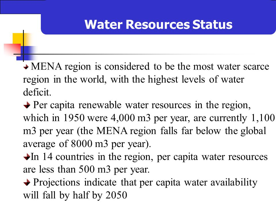 water scarcity in the mena area