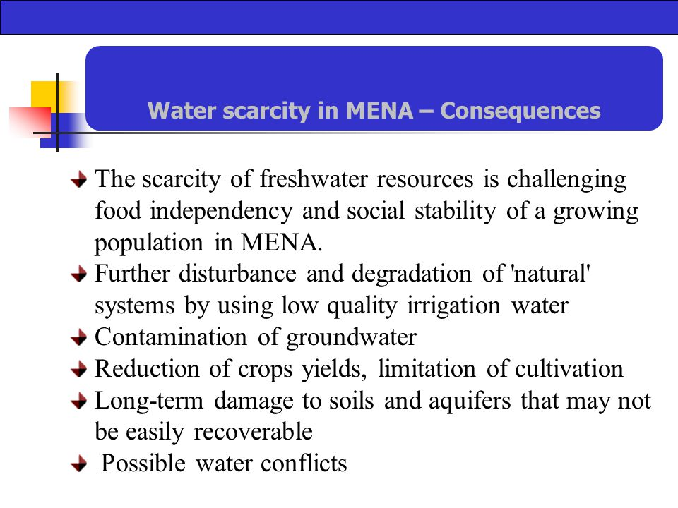 The scarcity of freshwater resources is challenging food independency and social stability of a growing population in MENA.