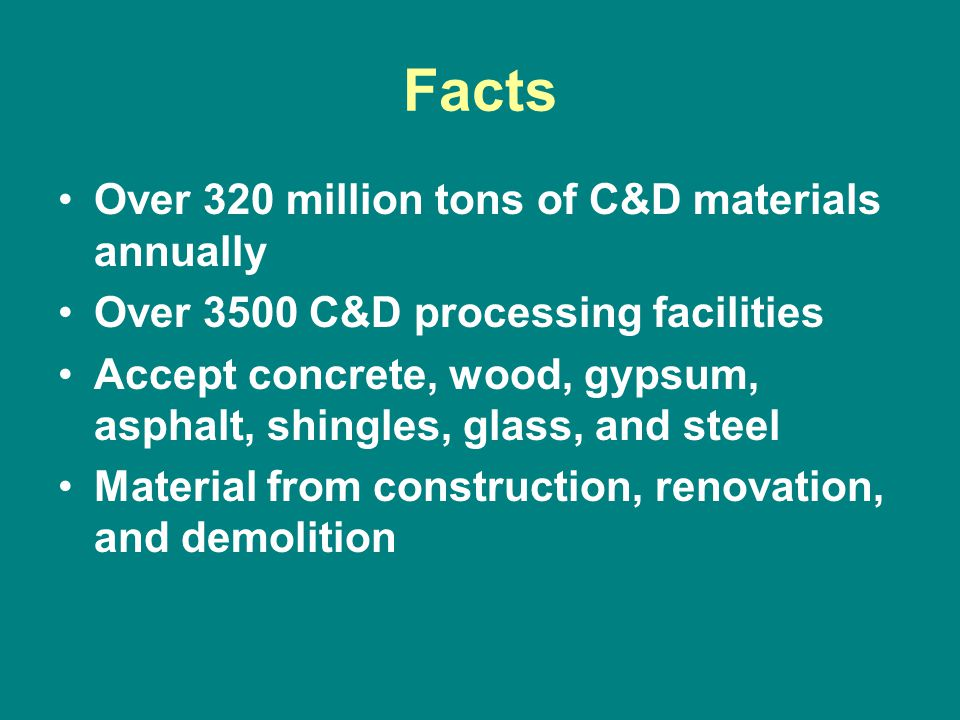 Facts Over 320 million tons of C&D materials annually Over 3500 C&D processing facilities Accept concrete, wood, gypsum, asphalt, shingles, glass, and steel Material from construction, renovation, and demolition