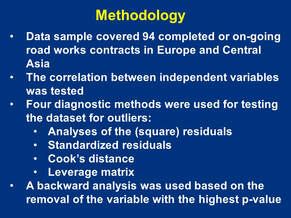 Methodology Data sample covered 94 completed or on-going road works contracts in Europe and Central Asia The correlation between independent variables