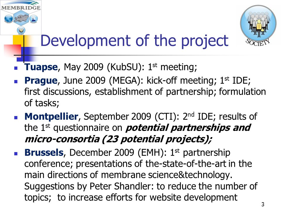 Development of the project Tuapse, May 2009 (KubSU): 1 st meeting; Prague, June 2009 (MEGA): kick-off meeting; 1 st IDE; first discussions, establishment of partnership; formulation of tasks; Montpellier, September 2009 (CTI): 2 nd IDE; results of the 1 st questionnaire on potential partnerships and micro-consortia (23 potential projects); Brussels, December 2009 (EMH): 1 st partnership conference; presentations of the-state-of-the-art in the main directions of membrane science&technology.