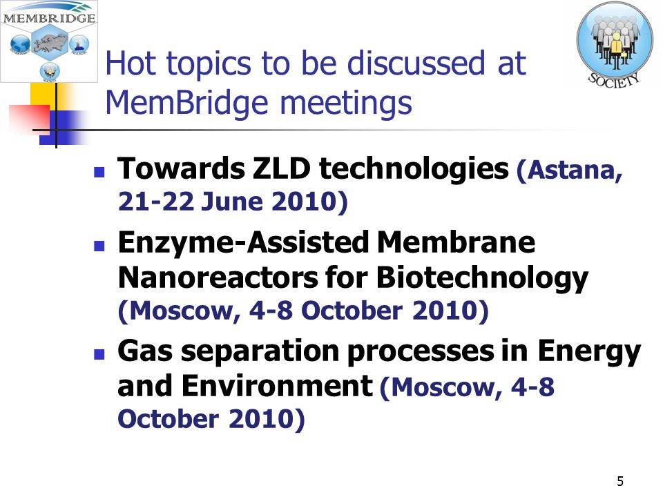 Hot topics to be discussed at MemBridge meetings Towards ZLD technologies (Astana, 21-22 June 2010) Enzyme-Assisted Membrane Nanoreactors for Biotechnology (Moscow, 4-8 October 2010) Gas separation processes in Energy and Environment (Moscow, 4-8 October 2010) 5