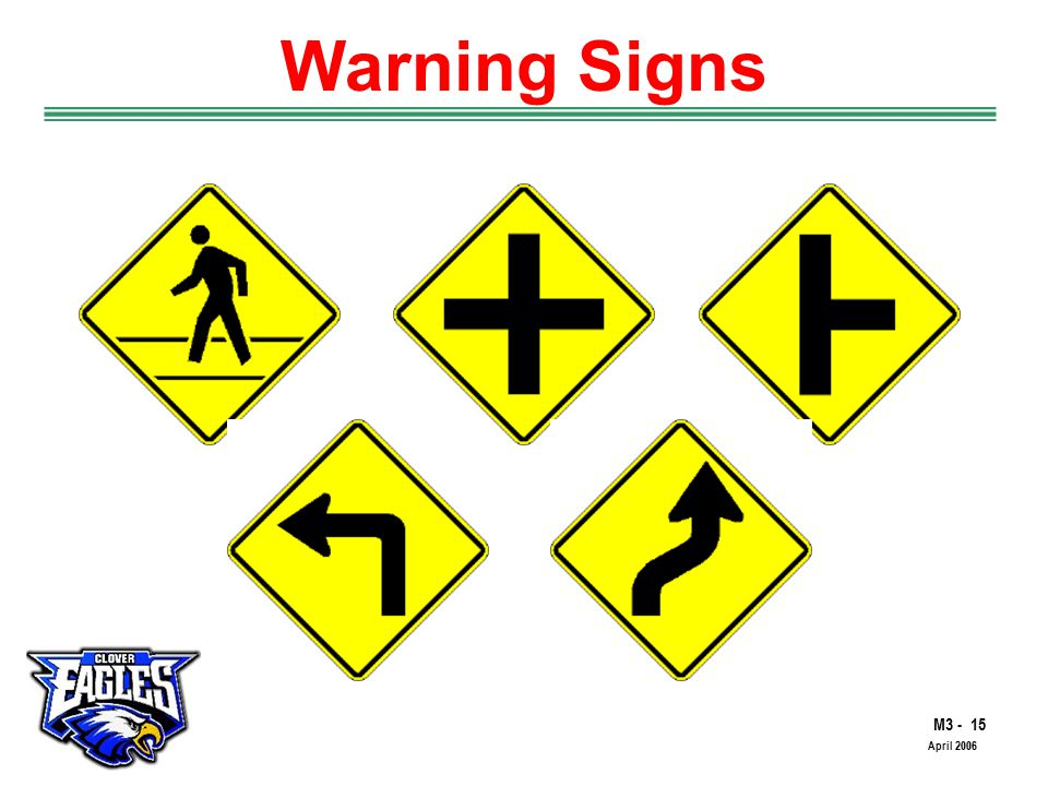 M3 - 15 The Road to Skilled Driving April 2006 Warning Signs