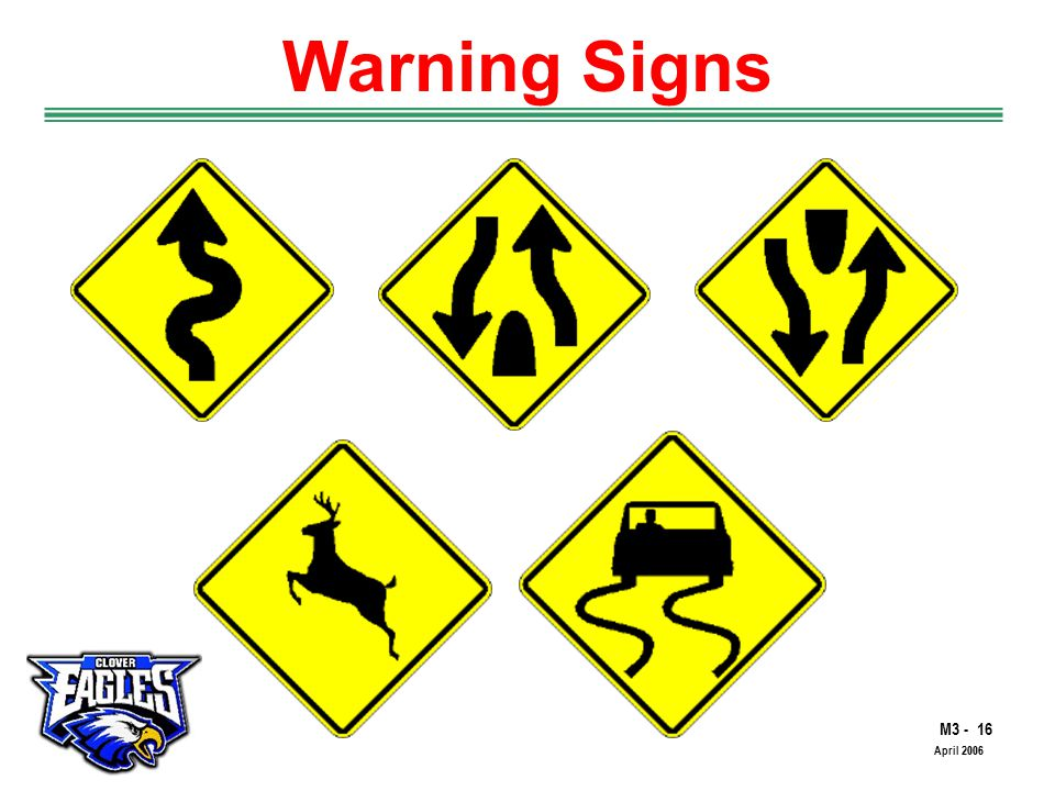 M3 - 16 The Road to Skilled Driving April 2006 Warning Signs