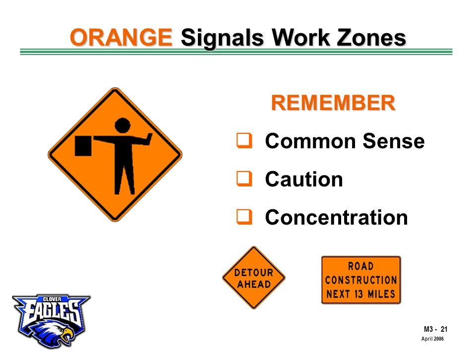 M3 - 21 The Road to Skilled Driving April 2006 ORANGE Signals Work Zones REMEMBER  Common Sense  Caution  Concentration