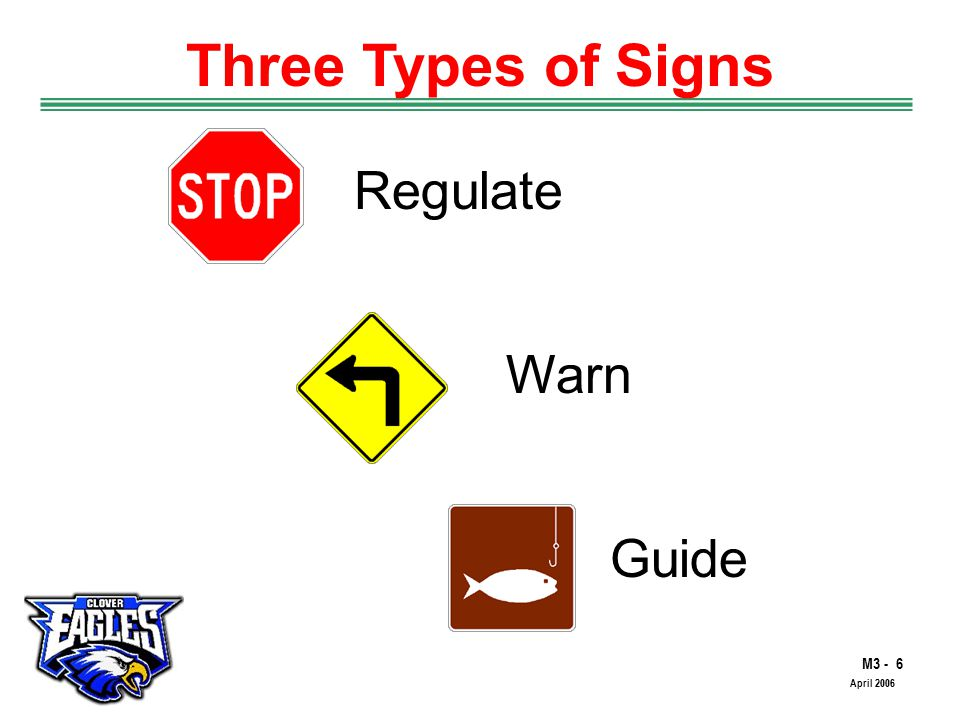 M3 - 17 The Road to Skilled Driving April 2006 Warning Signs