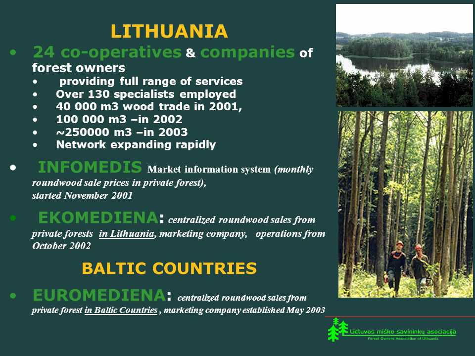 LITHUANIA 24 co-operatives & companies of forest owners providing full range of services Over 130 specialists employed 40 000 m3 wood trade in 2001, 100 000 m3 –in 2002 ~250000 m3 –in 2003 Network expanding rapidly INFOMEDIS Market information system (monthly roundwood sale prices in private forest), started November 2001 EKOMEDIENA: centralized roundwood sales from private forests in Lithuania, marketing company, operations from October 2002 BALTIC COUNTRIES EUROMEDIENA: centralized roundwood sales from private forest in Baltic Countries, marketing company established May 2003