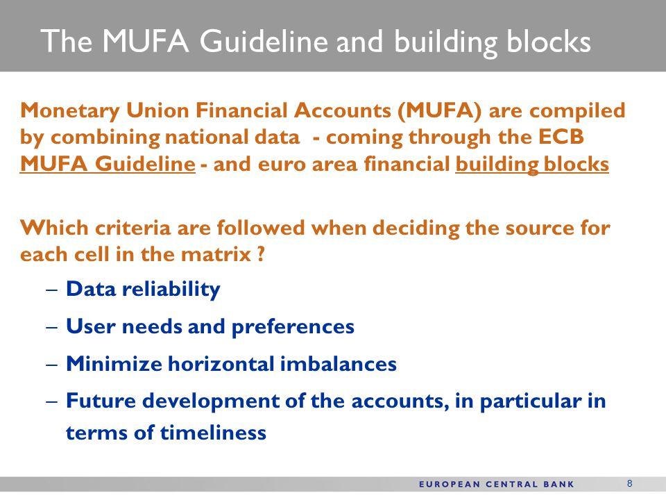 9 Data sources: National financial accounts and building blocks (BSI, BOP, QFAGG)