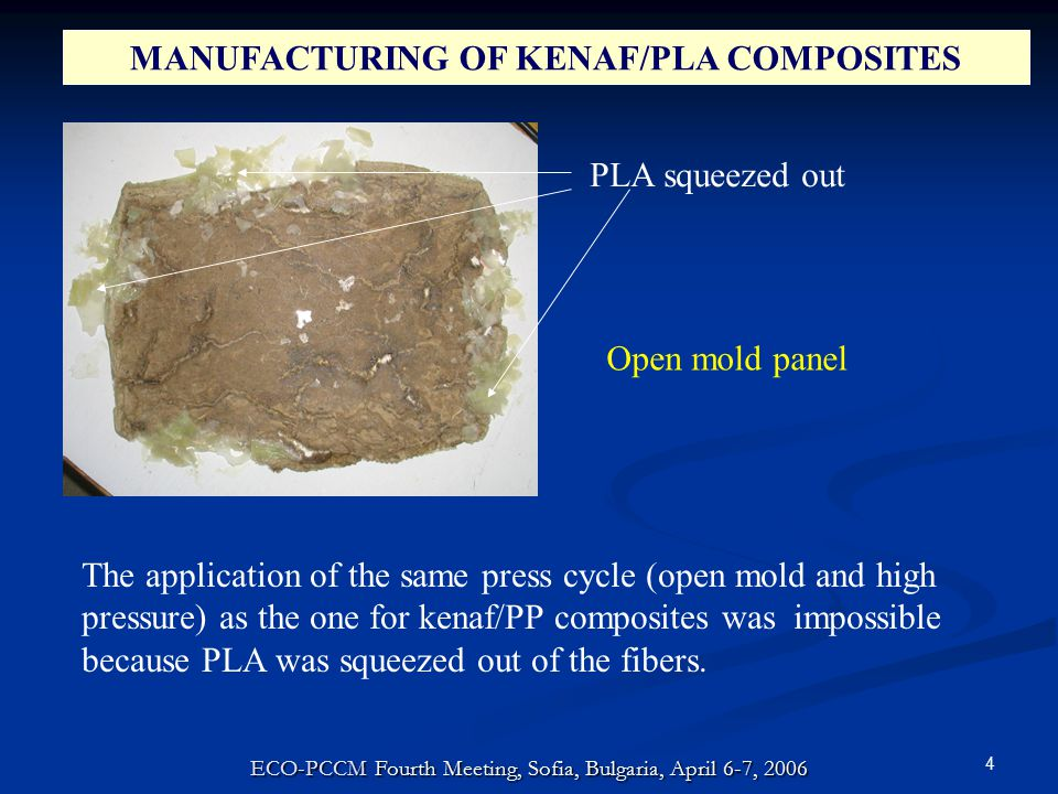 4 MANUFACTURING OF KENAF/PLA COMPOSITES PLA squeezed out The application of the same press cycle (open mold and high pressure) as the one for kenaf/PP composites was impossible because PLA was squeezed out of the fibers.