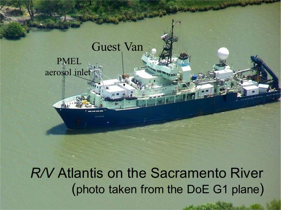 R/V Atlantis on the Sacramento River ( photo taken from the DoE G1 plane ) Guest Van PMEL aerosol inlet