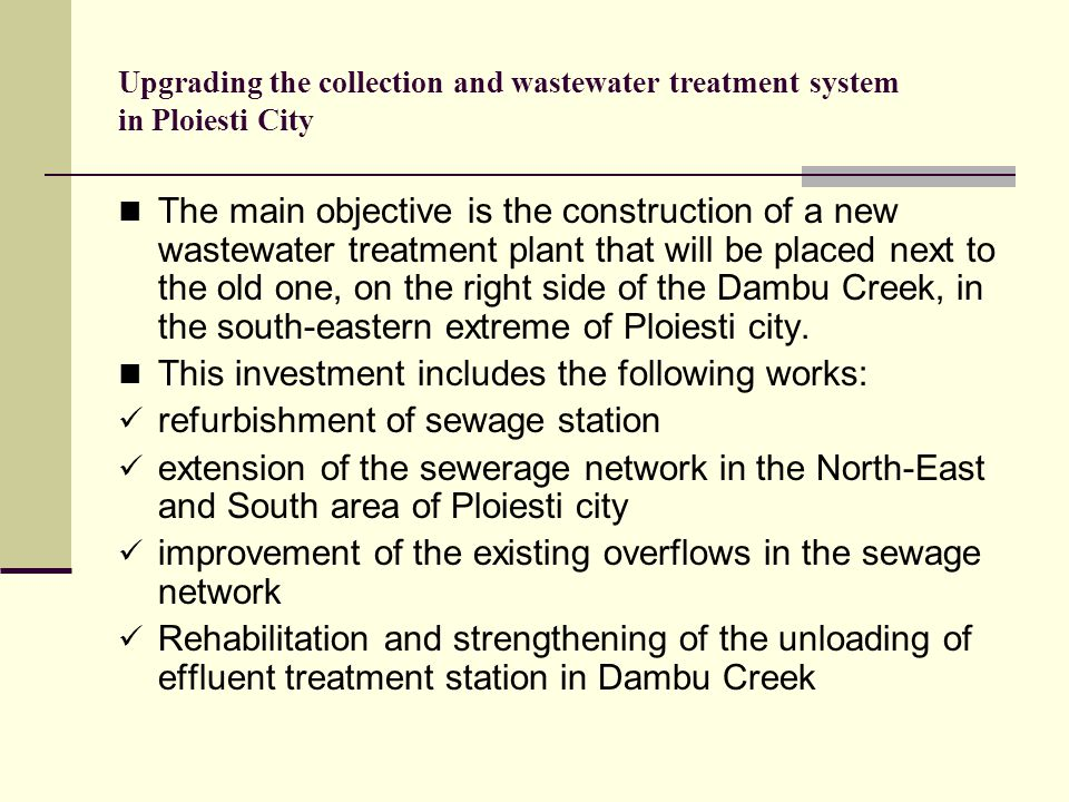 Upgrading the collection and wastewater treatment system in Ploiesti City