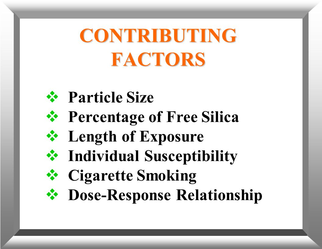  Particle Size  Percentage of Free Silica  Length of Exposure  Individual Susceptibility  Cigarette Smoking  Dose-Response Relationship CONTRIBU