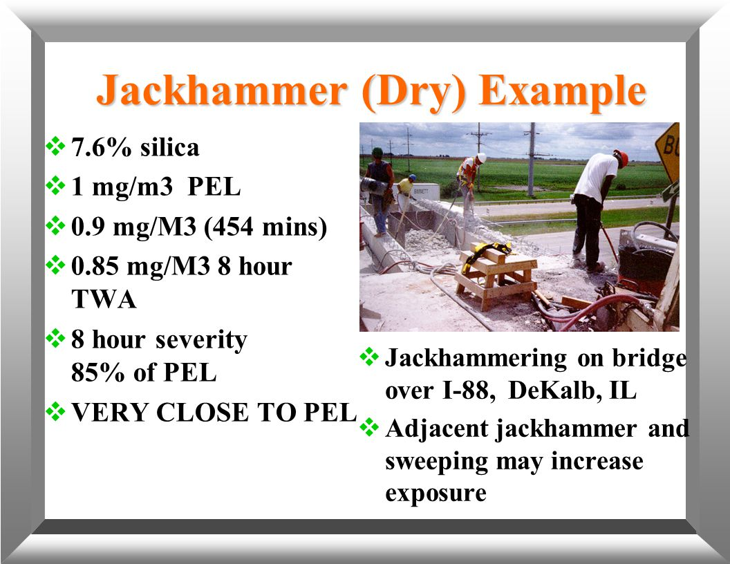 Jackhammer (Dry) Example  7.6% silica  1 mg/m3 PEL  0.9 mg/M3 (454 mins)  0.85 mg/M3 8 hour TWA  8 hour severity 85% of PEL  VERY CLOSE TO PEL 