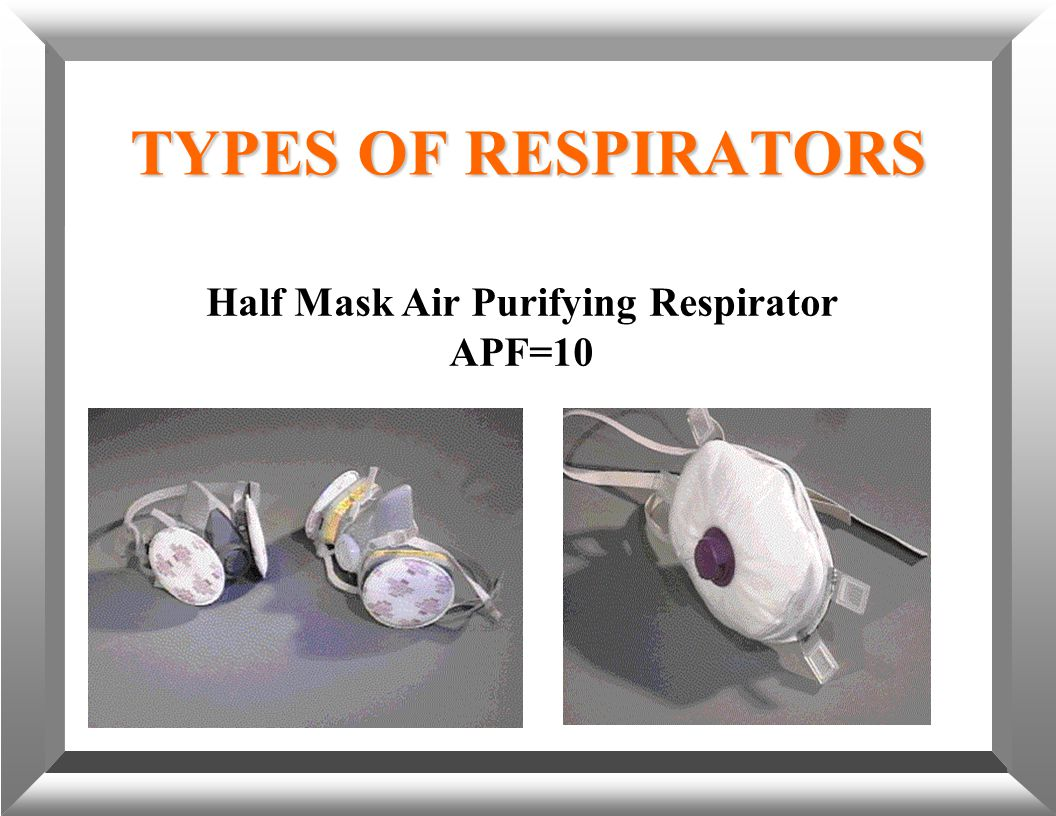 TYPES OF RESPIRATORS Half Mask Air Purifying Respirator APF=10
