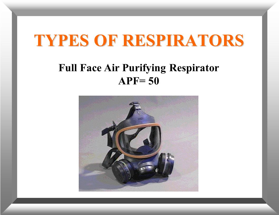 TYPES OF RESPIRATORS Full Face Air Purifying Respirator APF= 50