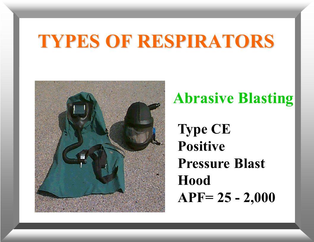 TYPES OF RESPIRATORS Abrasive Blasting Type CE Positive Pressure Blast Hood APF= 25 - 2,000