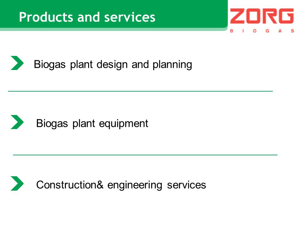 Products and services Biogas plant design and planning Biogas plant equipment Construction& engineering services
