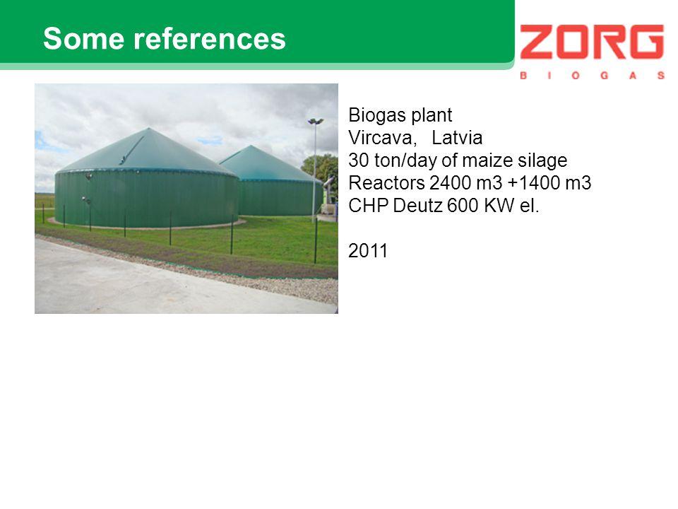 Some references Biogas plant Velikiy Krupil, Ukraine diluted cattle manure 300 ton/day, wet 96% Reactors 2400 m3 х 3 CHP Jenbacher 635 kW el 2008
