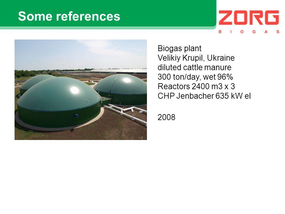Some references Biogas plant Cicekdagi, Turkey cattle & sheep manure mix 44 ton/day reactor 1800 m3 CHP Jenbacher 250 kW el.